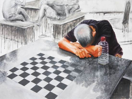 Old Man at Chinatown, 2010 | Mixed Media on Canvas