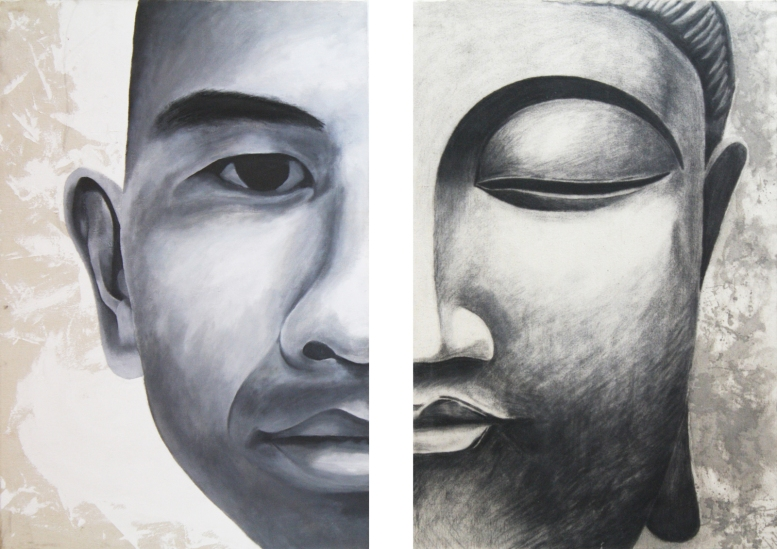 Self / Buddha, 2010     Mixed Media on Canvas     3' x 4'
