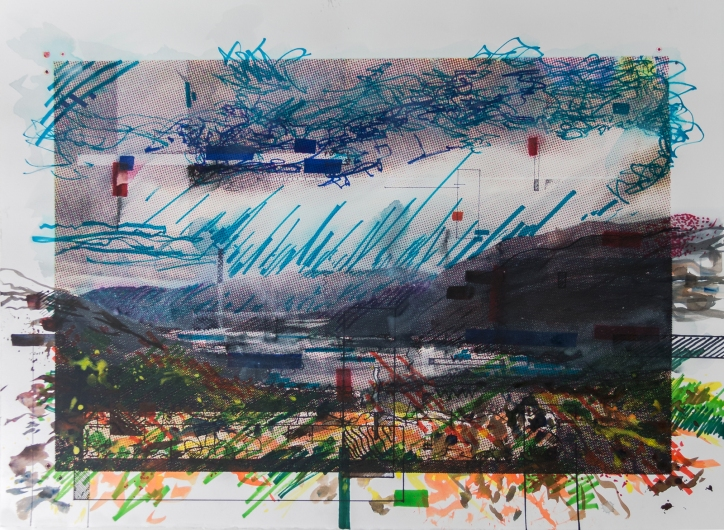 Attempts at Stilling my Breath, 2015 | Screen print, color pencil, monotype, watercolor, pastel, acrylic and marker on paper