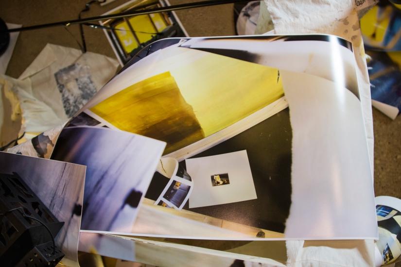 Ruins for Tomorrow, 2016 | Printed digital photographs, silk screen, canvas frame, vinyl records, video cassette, binoculars, surveillance camera, muslin, lamp stand, lantern, broken light bulb, and light kit