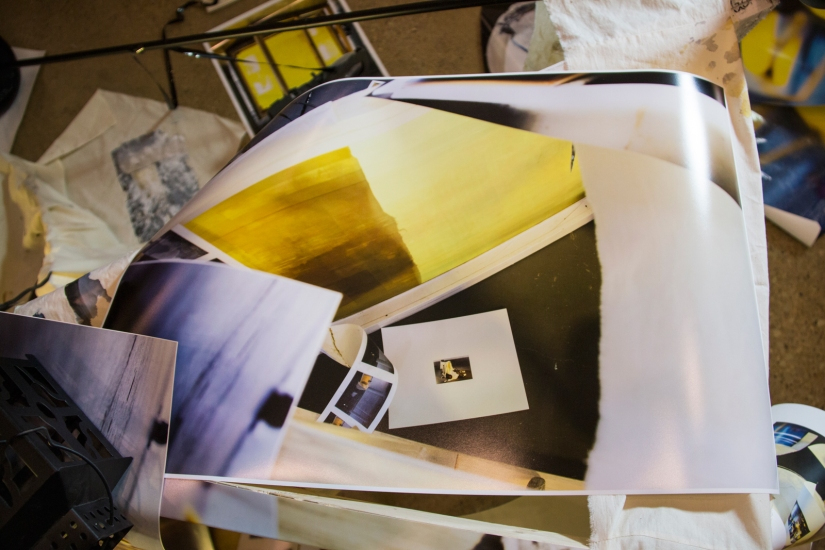 Ruins for Tomorrow, 2016 | Printed digital photographs, silk screen, canvas frame, vinyl records, video cassette, binoculars, surveillance camera, muslin, lamp stand, lantern, broken light bulb, and light kit