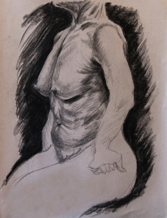 Study of Female Torso, 2015   Charcoal on paper