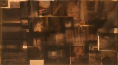 Interstices between the maker and the made, 2016 | Canvas cloth, printed photographs, written poetry, light and 2-channel sound